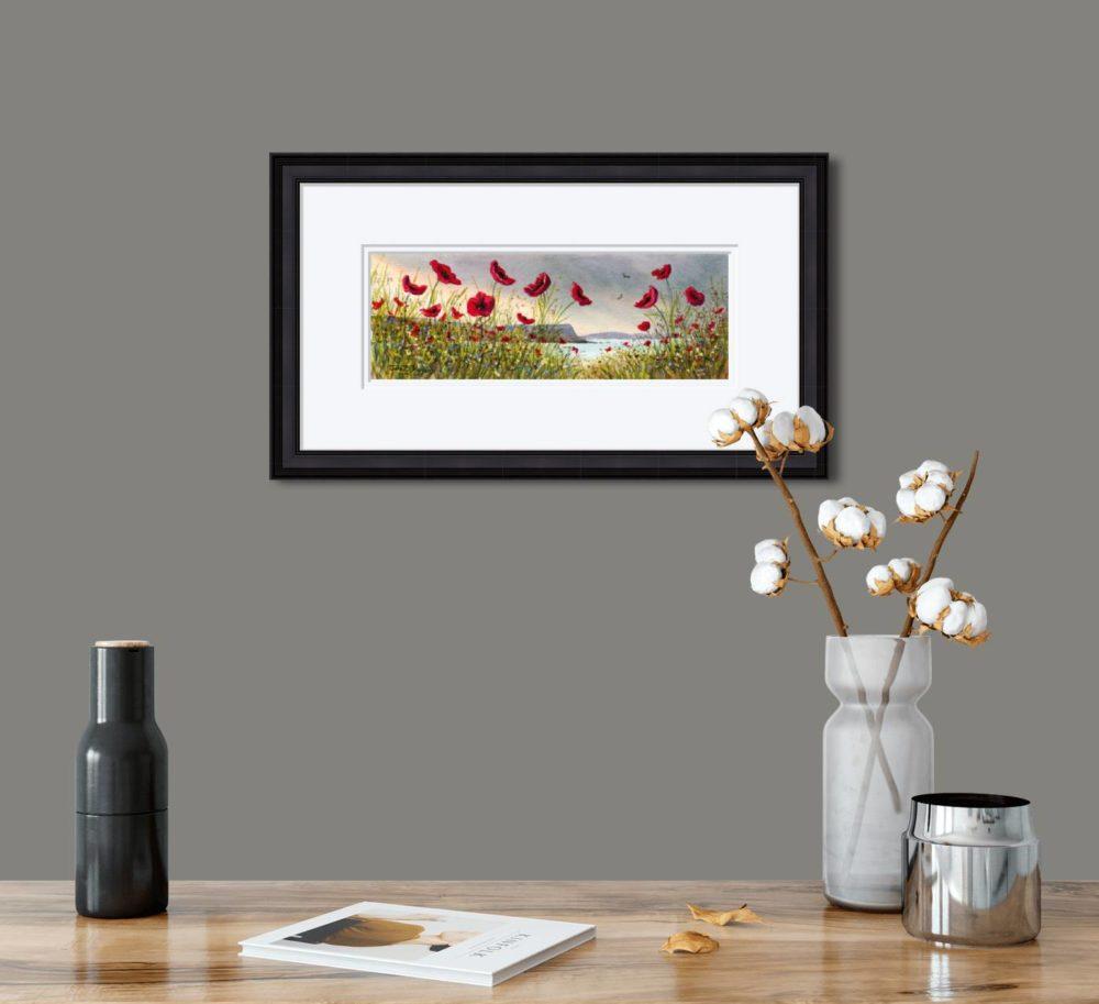 Causeway Flowers Print in Black Frame in Room