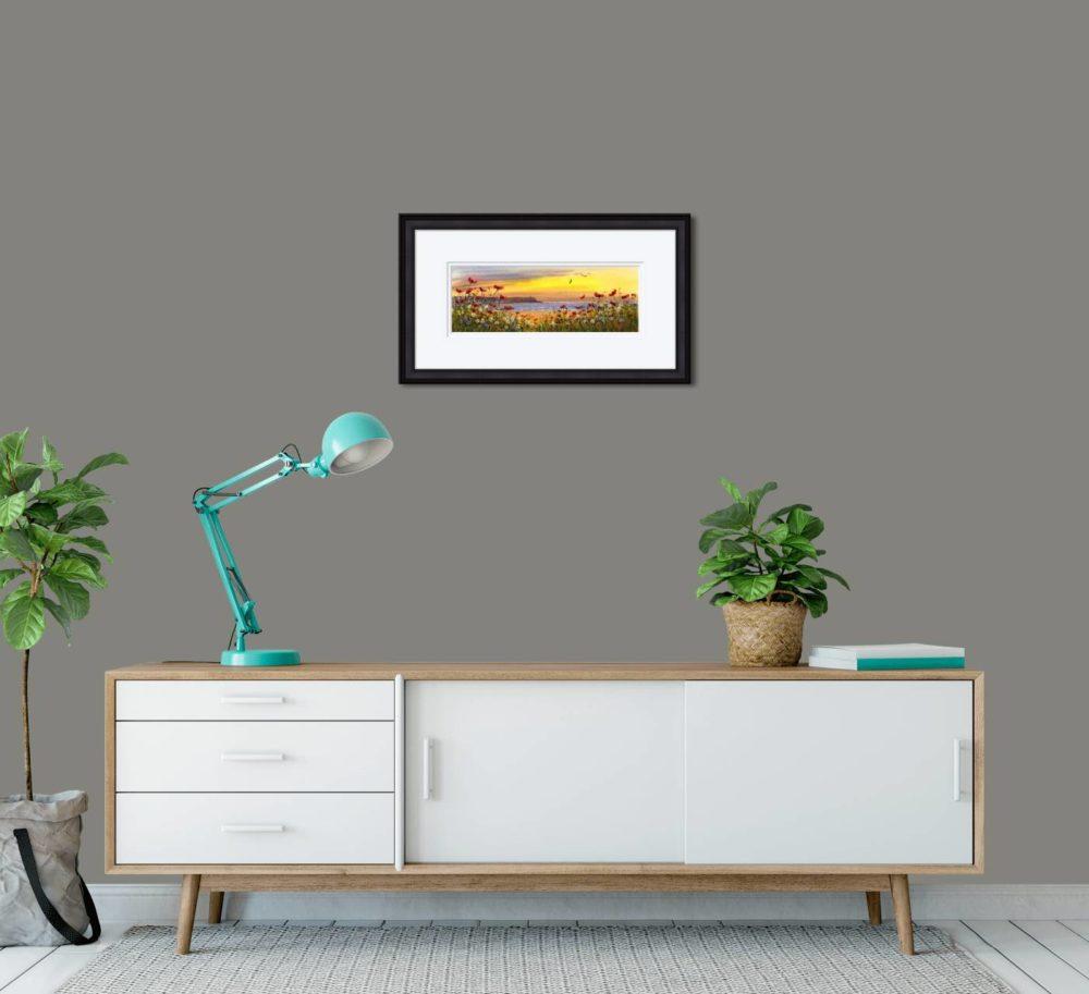 Downhill Castlerock Print in Black Frame in Room