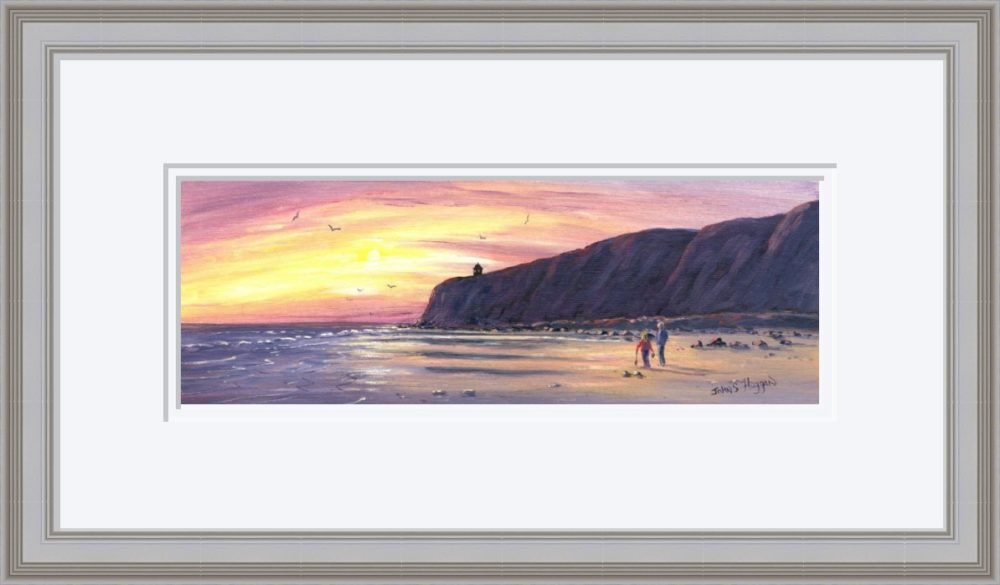 Downhill Beach Print in Grey Frame