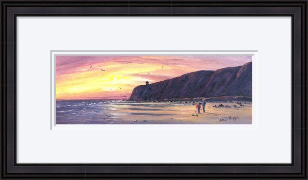 Downhill Beach Print in Black Frame