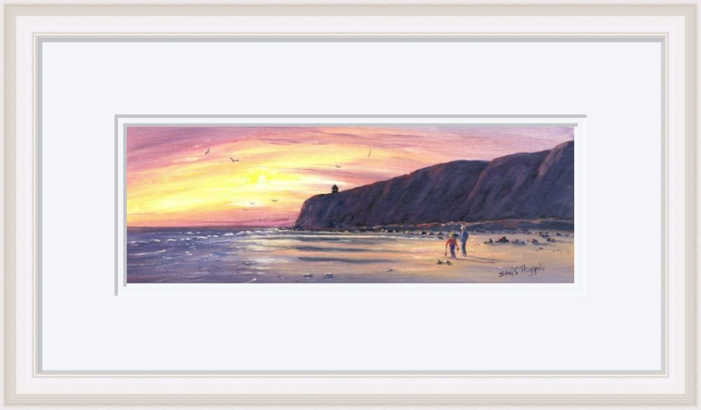 Downhill Beach Print in White Frame