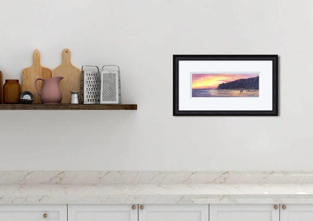 Downhill Beach Print in Black Frame in Room